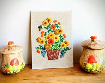 Vintage Orange and Yellow Flowers with Bumble Bee Crewel - 1970's Crewel - Embroidery Art