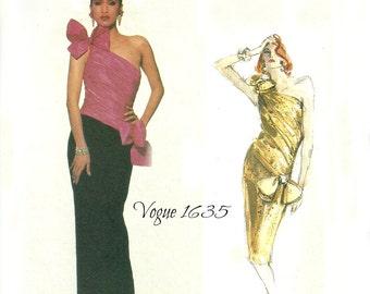 Vogue Designer Original 1635 One Shoulder Straight Evening Dress Bellville Sassoon Size 8 Bust 31.5