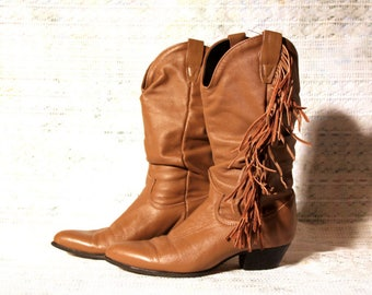 Tan Leather Cowgirl Boots with Fringe - Vintage 1980s Rodeo Drive - Size 5.5 M - Scrunchy Mid Calf Boot - Low Heel - Comfortable Shoes