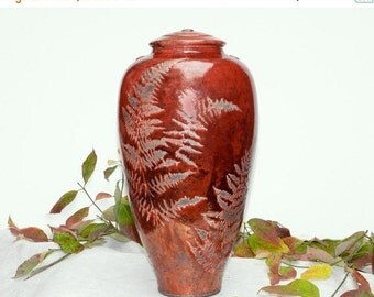 Red Fern Raku Jar,14.5 in. copper and fern detail, , for Non Perishables, and Decor.