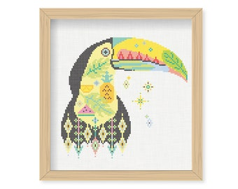 Tutorial TOUCAN WILD/ embroidery Cross Stitch .pdf / Instant Download