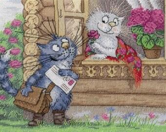NEW UNOPENED Counted Cross Stitch Kit MP Studio НВ605 The mustachioed mailman. Cat