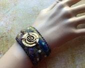 Charm Bracelet - Gypsy Bracelet - Beaded Felted Wrist Wrap - Boho Chic Wearable Art Cuff
