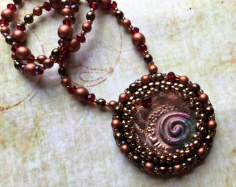 Bead Embroidery Raku Necklace - Festival Boho Chic Rustic Jewelry - Copper Necklace