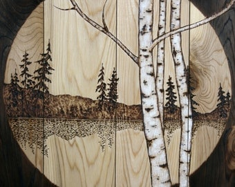 Wood Burned Wall Art  16 X 16 inches - Lakeside Birch Trees