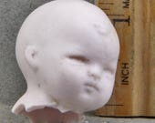 Vintage Antique Excavated German Miniature Pink Porcelain Doll Head 1860