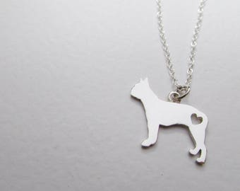 Dog necklace, dog silhouette, pet pendant,  dog outline, jewelry, boston terrier, pet jewelry