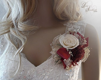 Ships in 5 days ~~~ Burgundy Sola Flower Corsage, Wrist Corsage or Pin On Corsage.