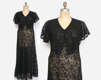 Vintage 30s LACE DRESS / 1930s Sheer Black Lace Capelet Full Length Evening Gown L