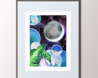 Space Painting with Ferns 8.5x11 Print - Night Sky Original Art - Ferns for the Moon - Watercolor Painting with Abstract - Contemporary Art
