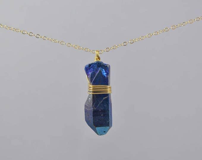 Blue Titanium Quartz Crystal Necklace, Rainbow Healing Crystal Necklace, Quartz, Silver Chain, Natural Titanium Quartz Jewellery, Bohemian
