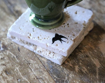 Small Black Bird Coaster Set, Natural Tumbled Marble Rustic Coasters Set of 2 Handmade Home Decor Shabby Chic Simple