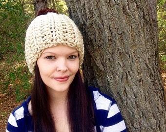 Womens Tan Chunky Ribbed Hat With Brown Pom Pom, Ready To ship, Thick Winter Beanie- Beanie- Pom Pom Hat
