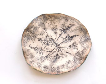 Ceramic Flower Tray Rustic Clay Art Tray Organic Weed Imprint Decorative Dish Wildflower Imprint Home Decor Small Earthy Pottery Tray