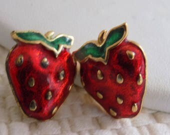 Vintage red and green enamel strawberry stud earrings