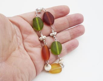 Earth Tone Sea Glass bracelet