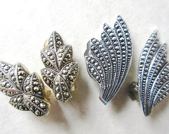 Aluminum Eloxal German Clip On Earrings, Leaf, Art Deco Feather, Faux Marcasite, Vintage 30s Germany