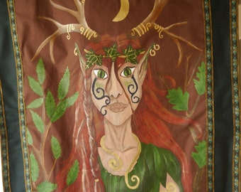 Elen of the Ways Hand Painted One of a Kind Wallhanging Pagan Deer Goddess