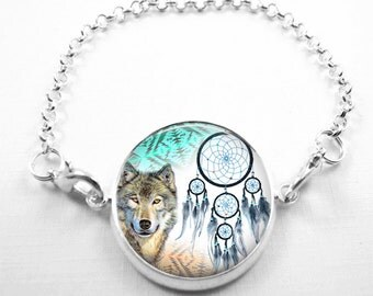 Wolf Bracelet Glass Tile Bracelet Glass Tile Jewelry Wolf Jewelry Dreamcatcher Jewelry Wolf Bracelet  Silver Jewelry Animal Jewelry