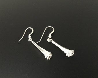 Sterling Silver Earrings, Silver Flower Bud Earrings, Dangle Drop Earrings, Sterling Silver Jewelry, Bud Earrings
