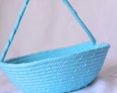 Reserved...  SET of 5 Flower Girl Baskets, Handmade Bahama Blue Baskets, Custom Order... Wedding Decor, Bridal Baskets