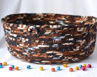 Brown Cat Bed, Woodland Storage Organizer, Handmade Magazine Rack, Dark Chocolate Pet Bed, Earth Tone Fabric Basket