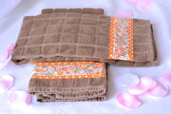 Latte Kitchen Towels, Set of Two Chocolate Cotton Towels, Hand Decorated, 2 Lovely Coffee Latte 100% Cotton Towels, Autumn Decoration