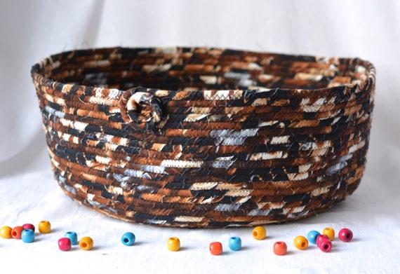 Cat Bed Furniture, Woodland Storage Organizer, Handmade Magazine Rack, Dark Chocolate Pet Bed, Earth Tone Fabric Basket
