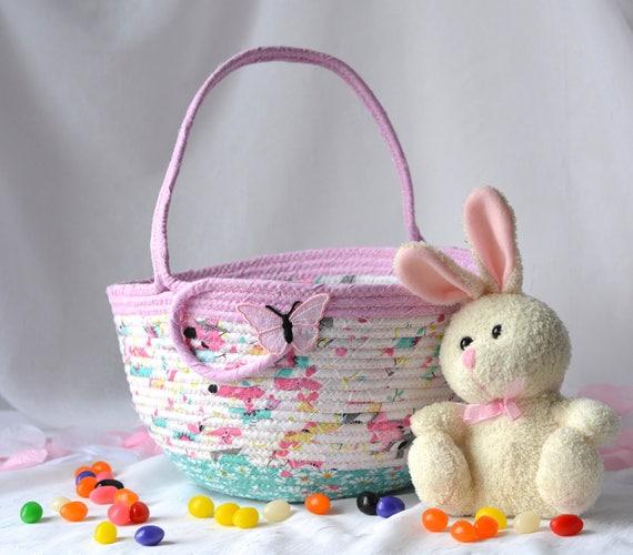 Girl Easter Basket,  Flower Girl Basket, Handmade Easter Basket, Pink Wedding Basket, Pink Easter Bucket, Easter Decoration