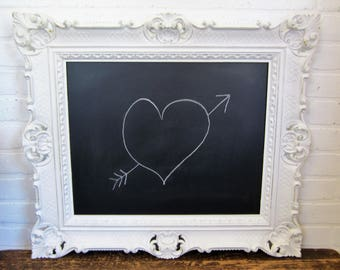 "Vintage Syroco Type White Gold Ornate Framed Chalk Board 27""x24"""