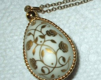 Porcelain Egg Necklace Pendant & Chain Bisque 24K Gold Roses and Trim Vintage 1970's Flowers of Spring Franklin Mint