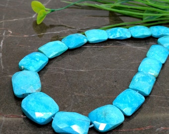 Natural Turquoise 15-19mm Faceted Chicklet Briolette Beads / Approx 30 pieces on 18 Inch long strand / JBC-ET-BSTQ012