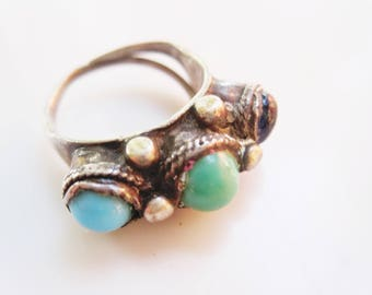 Antique Middle East Silver and Blue Glass Adjustable Ring, Ethnic Jewelry