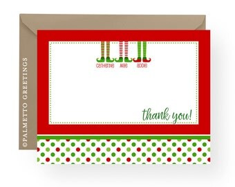 PRINTABLE - Holiday Elf Family / Children / Stationery / Thank You Notes