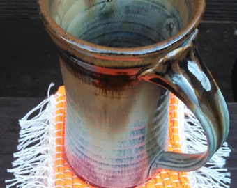 Neon Orange Mug Rug/Coaster Set of Four by canfieldcreations Great Wedding Gift