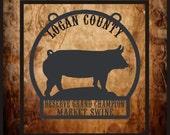 Market hog-Pig  Personalized livestock show award, trophy, plaque.  Grand, Reserve grand champion.  4h, ffa, showman. Or farm sign.