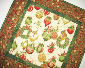 Christmas Table Topper, Ornaments, quilted, fabric  from Holiday Flourish Line