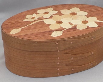 Shaker oval box with dogwood flower inlay