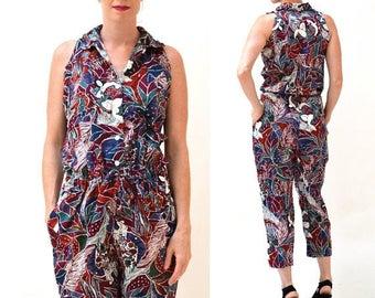 ON SALE Vintage Diane Von Furstenberg Jumpsuit Size Medium// Vintage DVF Tropical Printed Jumpsuit Medium
