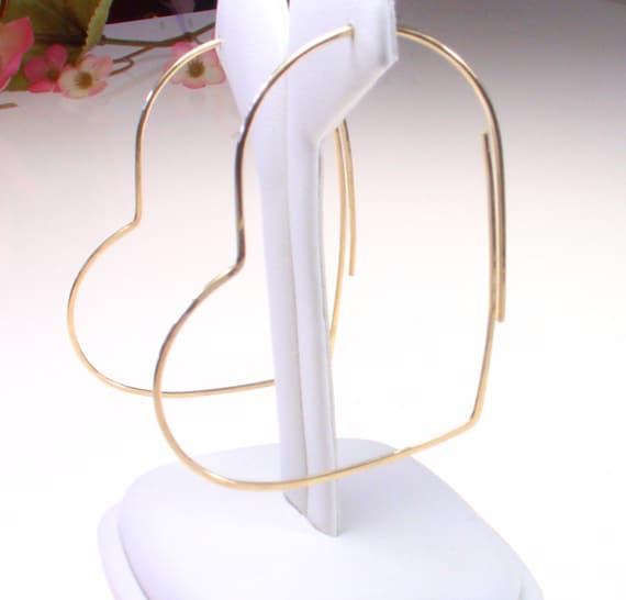 """14k Goldfill Heart Hoops - Gold Hoop Earrings - Large 2.25"""" - 14k goldfill Hoops - Thin and Simple Gold Hoop Earrings"""