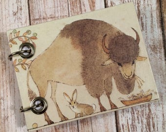 Recycled Notebook - Small Refillable Notepad - Upcycled Children's Book - Buffalo and Bunny