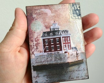 "Mini Original, Mixed Media Photography, Lighthouse Art, New London CT art, lighthouse gift, 2.5"" x 3.5"" ACEO Wood Block ""Ledge Lighthouse I"""