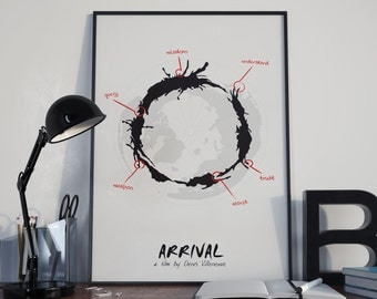 Words Betray Meaning // Arrival Inspired Alternate Movie Poster // Science Fiction Alien Language Iconography and World Map
