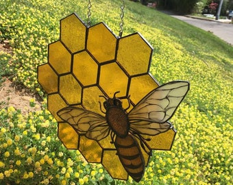 Stained Glass Honey Bee on Honeycomb Hanging Stained Glass Panel