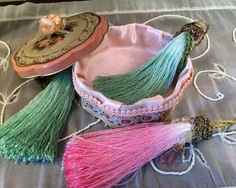 Lampshade Tassels Fan Pulls Hand-Dyed Rayon Beaded Metallic Trim Vintage Avon Tin