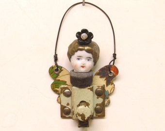 Original Handmade Steampunk Fairy Assemblage Art Doll Head Keepsake Ornament