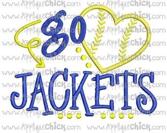 Go Jackets Applique Design Machine Embroidery, Baseball Applique, Yellow Jackets