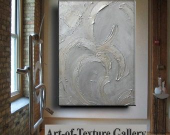 Big 30 x 40 Original Abstract Texture Modern Silver Pewter Copper Metal Sculpture Carved Impasto Knife Oil Painting by Je Hlobik