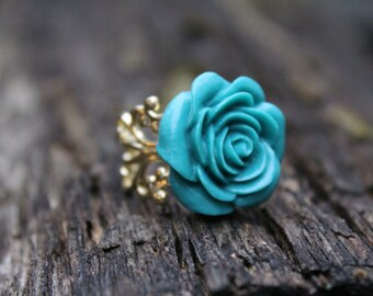 Grande Lagoon Blue Rose on Gold Plated brass Filigree Ring