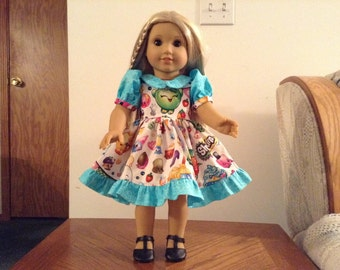 "Turquoise trimmed shopkin dress to fit 18"" doll"